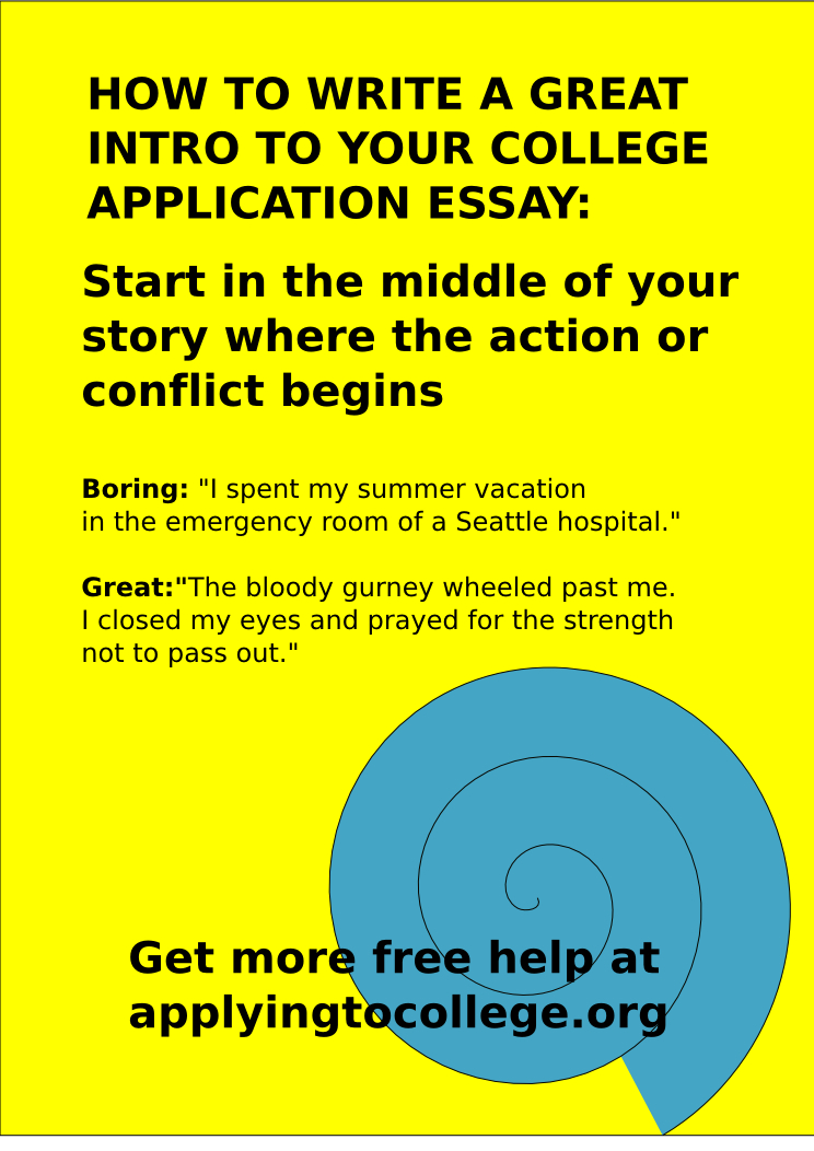 Great college admission essays on writing