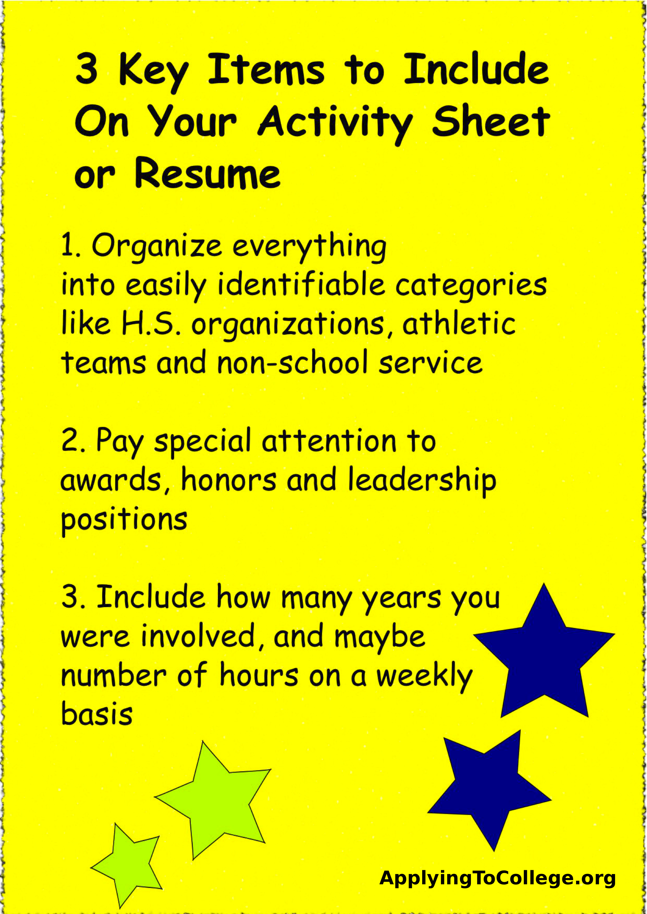 Resumes And Activity Sheets  Applying To College