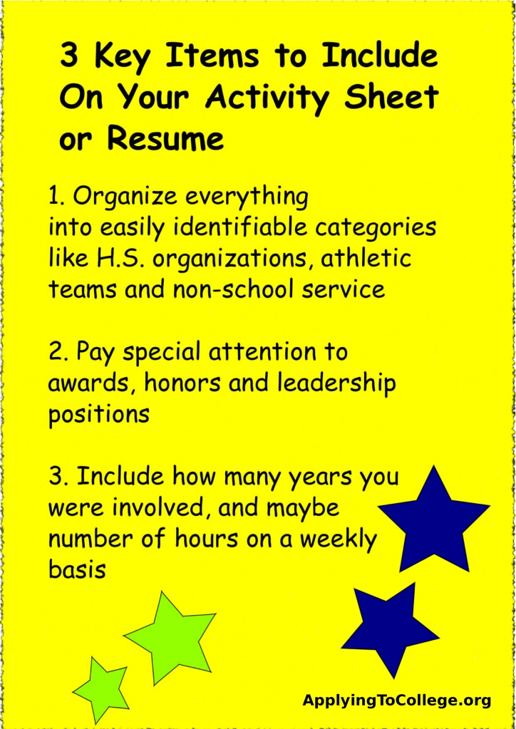 items include college resume activity template