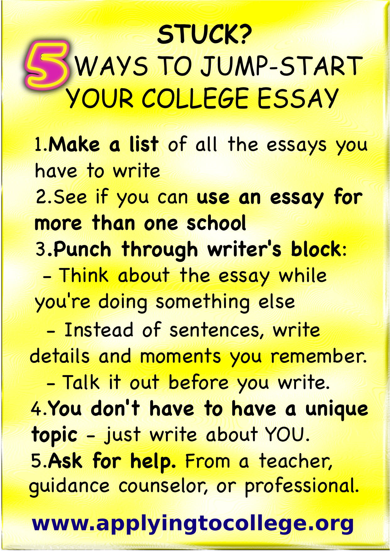 "ways to start your college essay Are you worried your teen is stuck and doesn't know how to start the college essay are you a high school senior thinking about how to get started on your essay no need to worry jane hirschhorn's course ""kickstart your college essay"" will show you concrete steps you can take starting today to create a compelling."