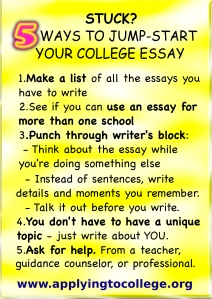 Writing an essay for college application start