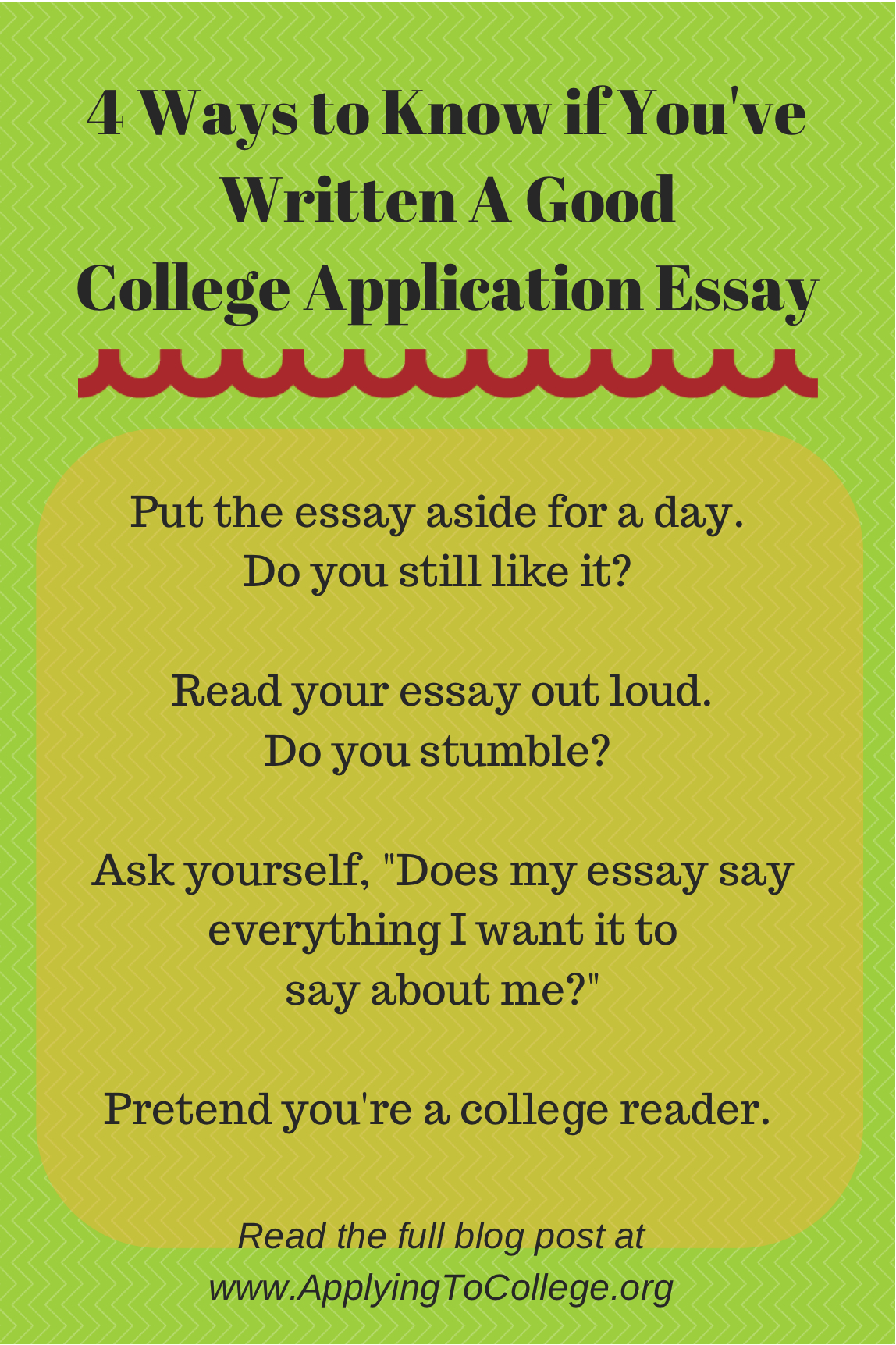do college essay While (hopefully) no lives are riding on your college application essays, this is a great time to revisit some of the rules of writing well.
