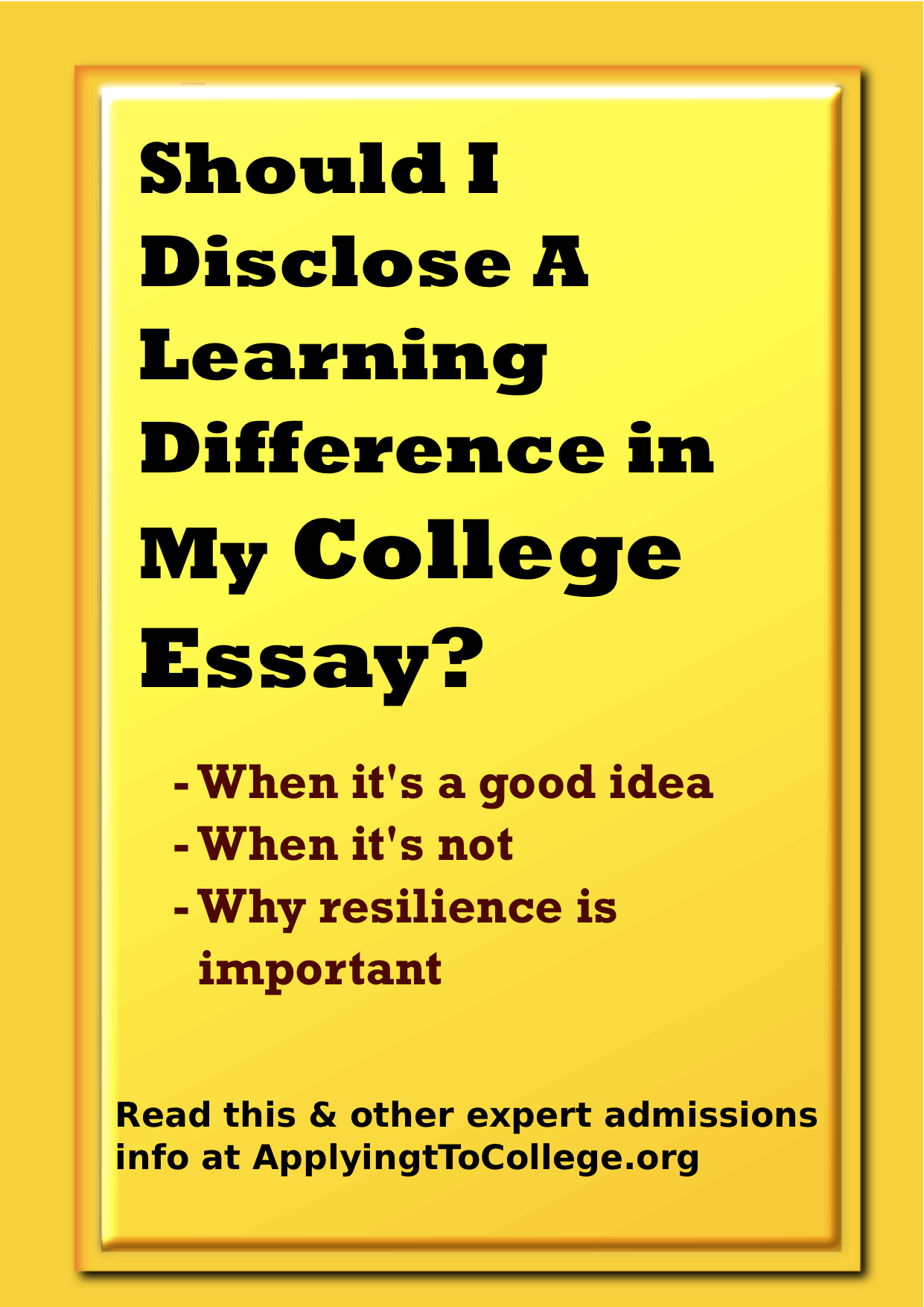 college essays about learning disabilities Learning disability essays many people pass by people or children with learning disability without notice unlike other disabilities like paralysis and blindness a.