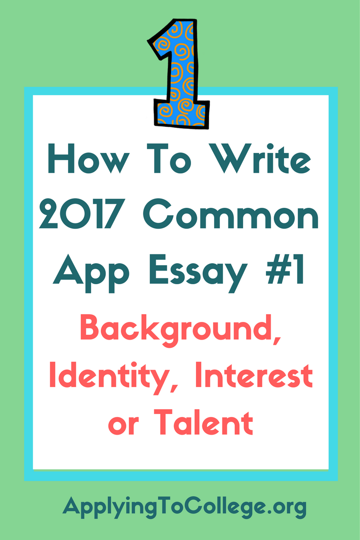 common application personal essay option 1 Common app historians (all three of them), will remember the  #1 some  students have a background, identity, interest or talent  it can be an intellectual  challenge, a research query, an ethical dilemma — anything that is of personal   describe a topic, idea, or concept you find so engaging that it makes.